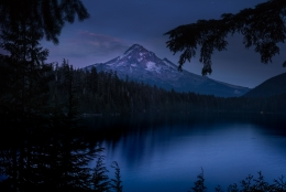 Mt. Hood at Lost Lake at Night, Oregon